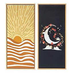 Wild Sage™ Sun & Moon 14-Inch x 32-Inch Framed Canvas Wall Decor (Set of 2)