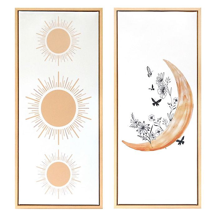 Alternate image 1 for Wild Sage™ Sun & Moon 14-Inch x 32-Inch Framed Canvas Wall Décor in Gold (Set of 2)