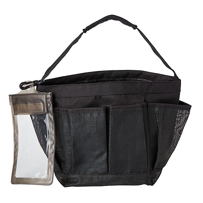 Alternate image 1 for Simply Essential™ Mesh Shower Tote in Black