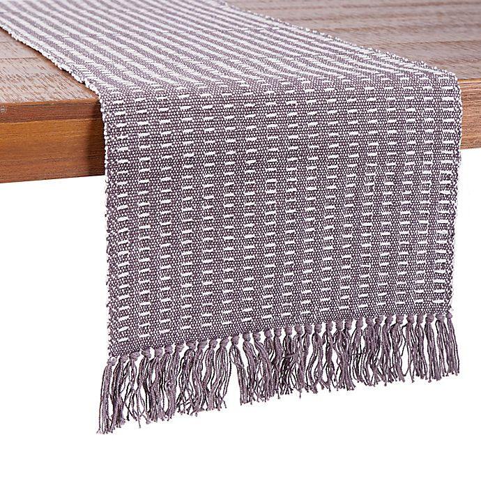 Alternate image 1 for Our Table™ Fringe Stitch Striped Table Runner