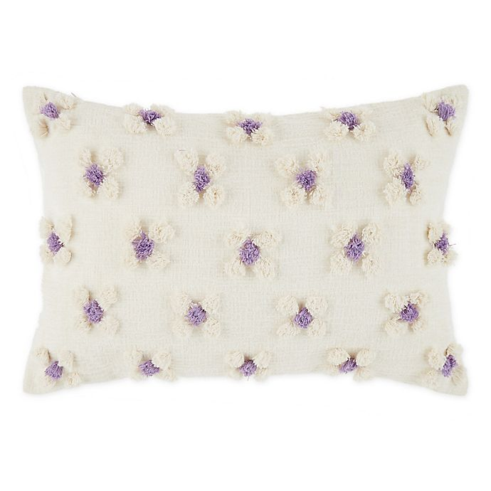 Alternate image 1 for Wild Sage™ Daisy Oblong Throw Pillow in Cream/Purple