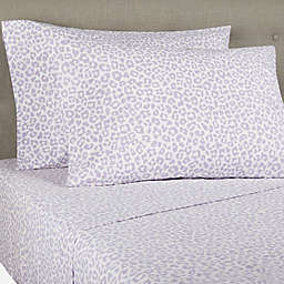 Wild Sage™ Brushed Cotton Percale 300-Thread-Count King Sheet Set in Purple Leopard