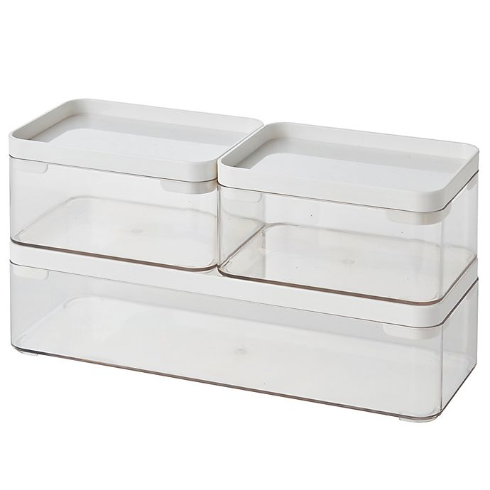 Alternate image 1 for Simply Essential™ Stackable Bath Storage Bins (Set of 3)