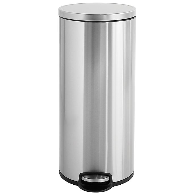 Alternate image 1 for Squared Away™ Stainless Steel 30-Liter Round Step-On Trash Can