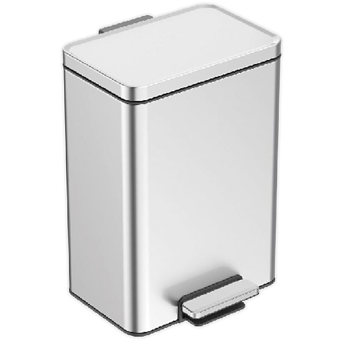Alternate image 1 for Squared Away™ Stainless Steel 16.7-Liter Rectangular Step-On Trash Can
