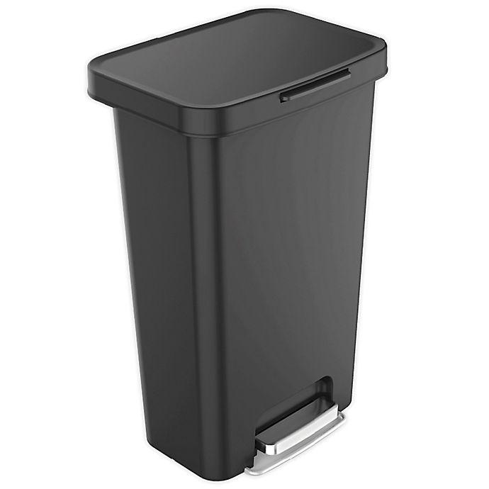 Alternate image 1 for Squared Away™ Resin 45-Liter Rectangular Locking Lid Step-On Trash Can
