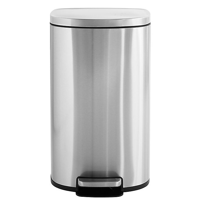 Alternate image 1 for Squared Away™ Stainless Steel 45-Liter Slim Soft Rectangle Step-On Trash Can