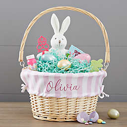 Everly Stripes Wicker Easter Basket with Drop-Down Handle