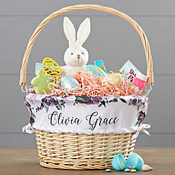 Floral Wicker Easter Basket with Drop-Down Handle