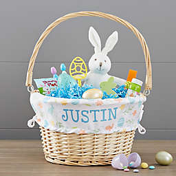 Patterned Wicker Easter Basket with Drop-Down Handle