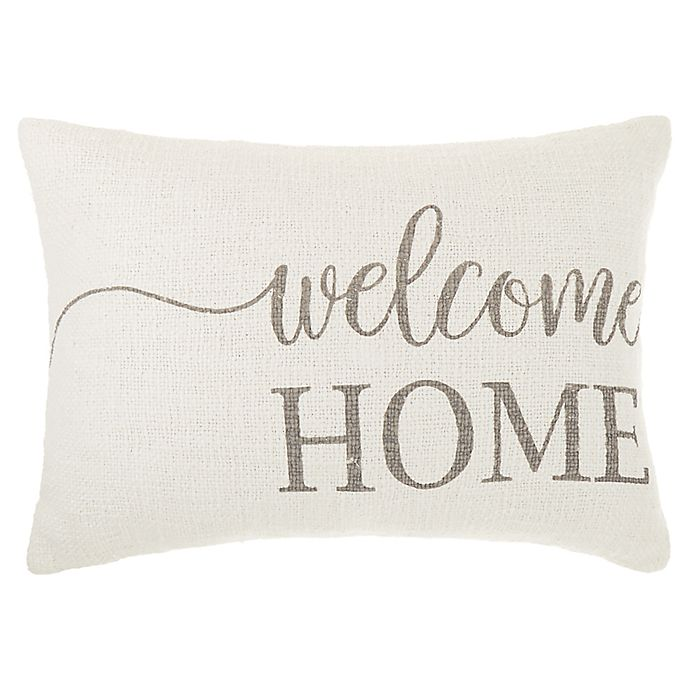 Alternate image 1 for Bee & Willow™ Home Welcome Home Throw Pillow in Coconut Milk/Grey