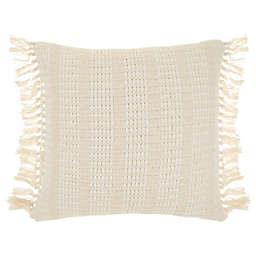Bee & Willow™ Textured Stripe Square Throw Pillow in Coconut Milk/Cream