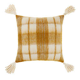 Bee & Willow™ Faux Mohair Plaid Square Throw Pillow in Coconut Milk/Gold