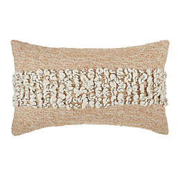 Bee & Willow™ Textured Woven Stripe Oblong Throw Pillow in Beige