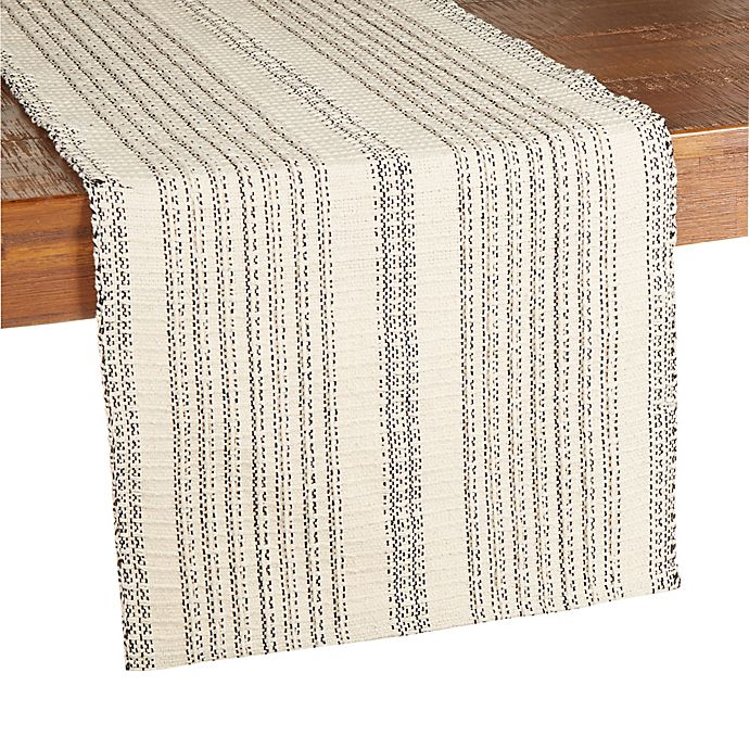 Alternate image 1 for Our Table™ Tonal Textured Stripe Table Runner in Natural/Black