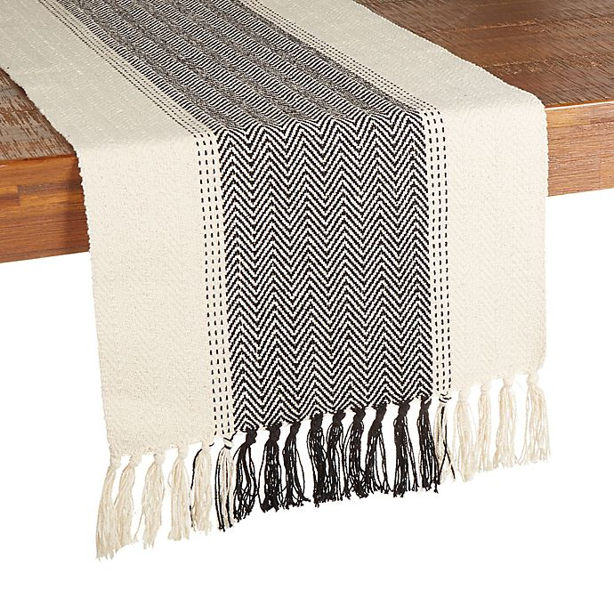 Alternate image 1 for Our Table™ Woven Chevron Table Runner in Charcoal