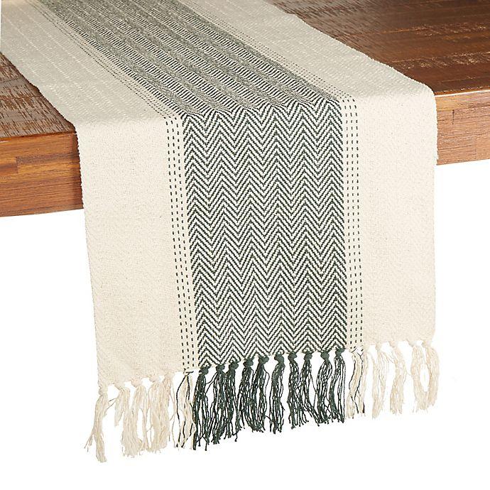 Alternate image 1 for Our Table™ Woven Chevron Table Runner in Green
