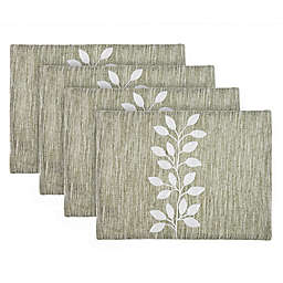 Bee & Willow™ Embroidered Leaf Placemats in Linen (Set of 4)
