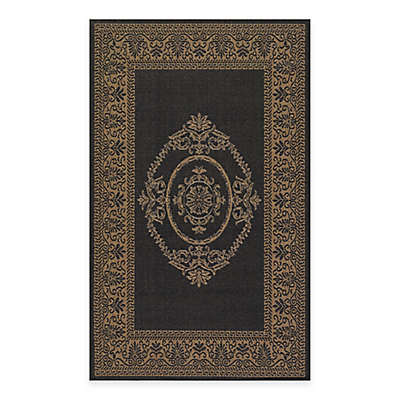 Couristan Antique Medallion Indoor/Outdoor Area Rug in Black/Cocoa