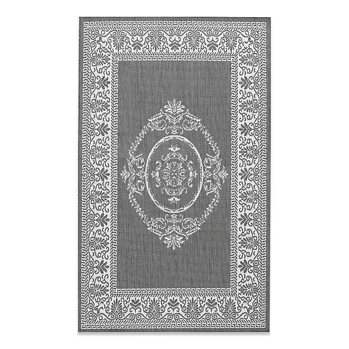Alternate image 1 for Couristan Antique Medallion Indoor/Outdoor Rugs in Grey/White