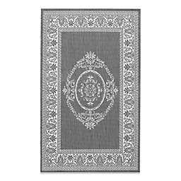 Couristan Antique Medallion Indoor/Outdoor Rugs in Grey/White