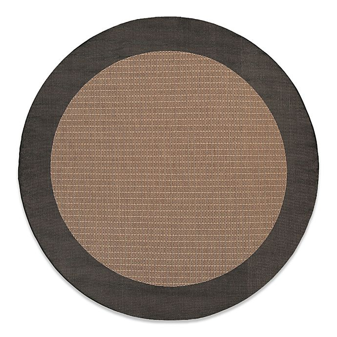 Alternate image 1 for Couristan® 7-Foot 6-Inch Round Checkered Field Rug in Cocoa/Black