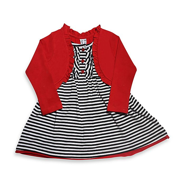 Black And White Striped Dress With Red Shrug Bed Bath Beyond