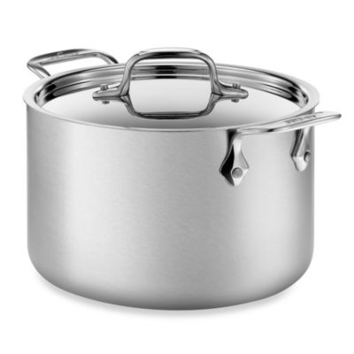 All Clad D5 Brushed Stainless Steel 4 Qt Covered Soup Pot Bed