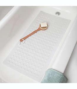 Tapete para baño extra largo de goma natural SlipX® Microban® color blanco