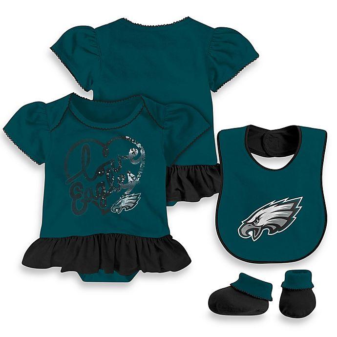 NFL Philadelphia Eagles 3-Piece Girl Creeper Bib and Bootie Set ... 1adc3fa81