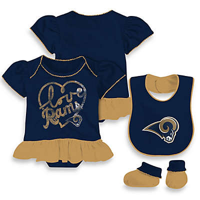 NFL L.A. Rams 3-Piece Girl Creeper Bib and Bootie Set