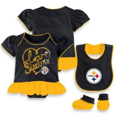 Nfl Pittsburgh Steelers 3 Piece Girl Creeper Bib And