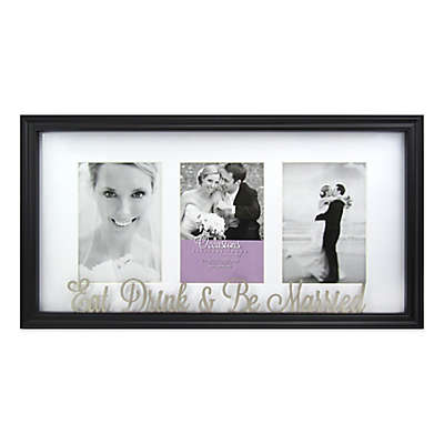 Occasions 3-Photo Eat Drink & Be Married Collage Frame in Black
