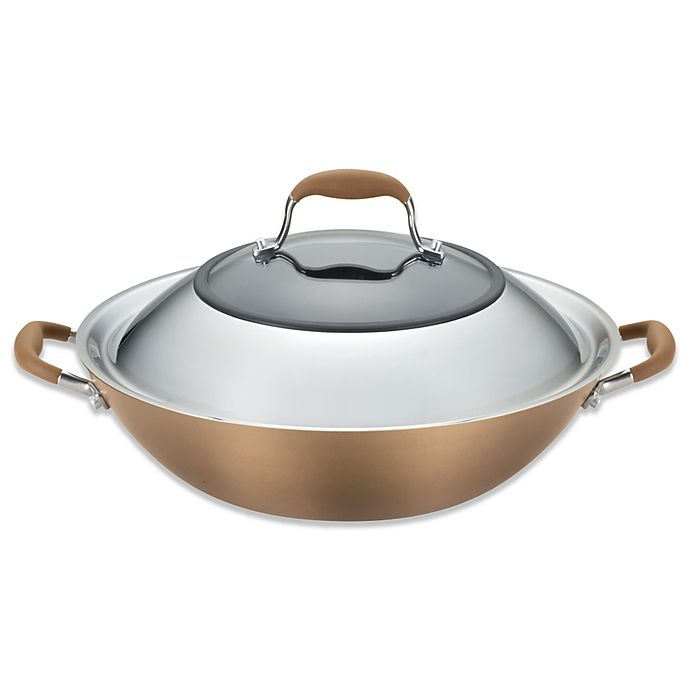 Alternate image 1 for Anolon® Advanced Bronze Hard Anodized Nonstick 14-Inch Covered Wok