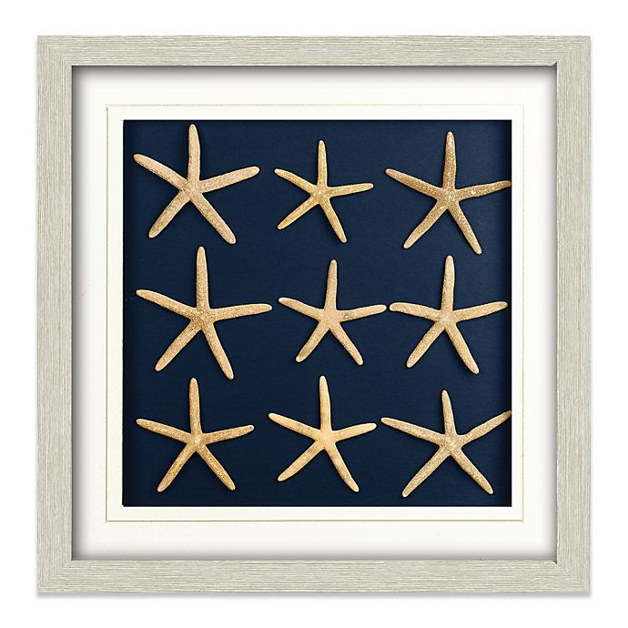 Alternate image 1 for Nine Starfish Shadowbox Wall Art in White