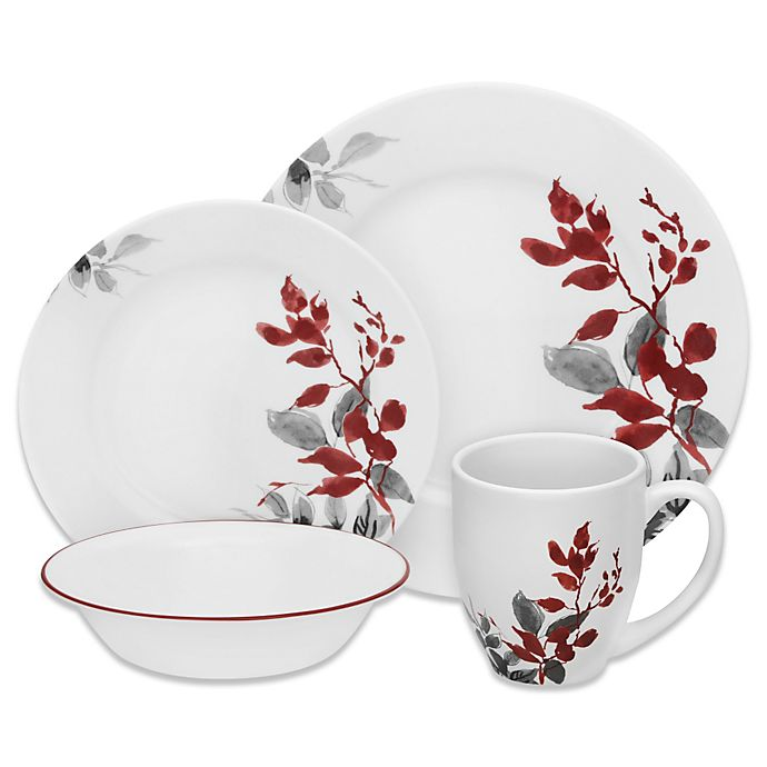 Alternate image 1 for Corelle® Boutique Kyoto Leaves 16-Piece Dinnerware Set