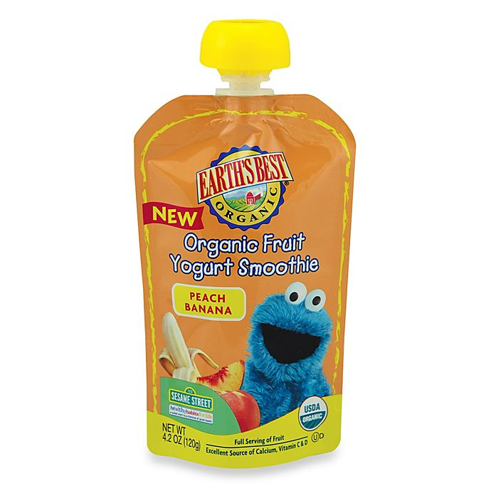 Alternate image 1 for Earth's Best® Organic 4.2 oz. Sesame Street Peach Banana Fruit Yogurt Smoothie