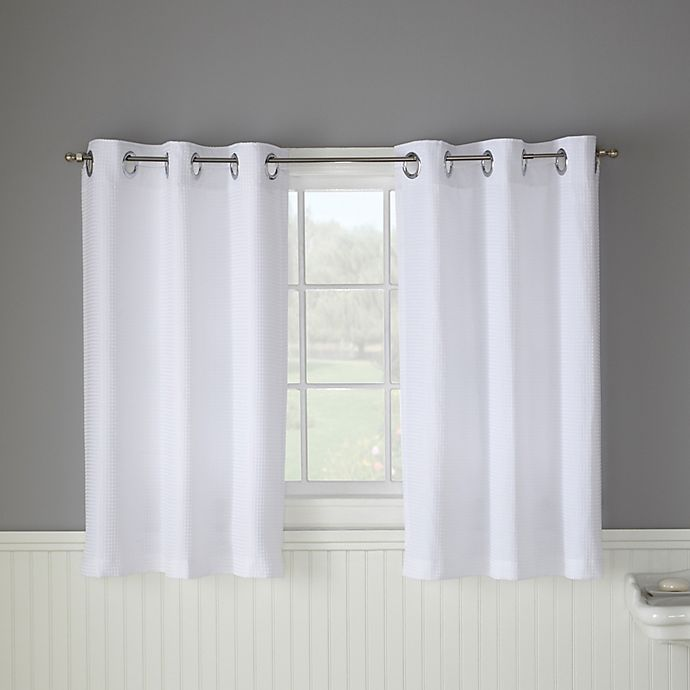 Alternate image 1 for Hookless® Waffle 45-Inch Bath Window Curtain in White