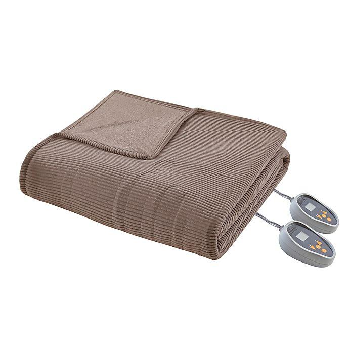Alternate image 1 for Beautyrest Heated Ribbed Micro Fleece Queen Blanket in Mink