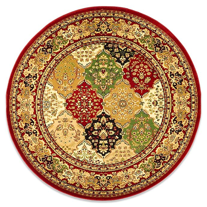 Alternate image 1 for Safavieh Lyndhurst Diamond Patchwork 8-Foot Round Rug in Red