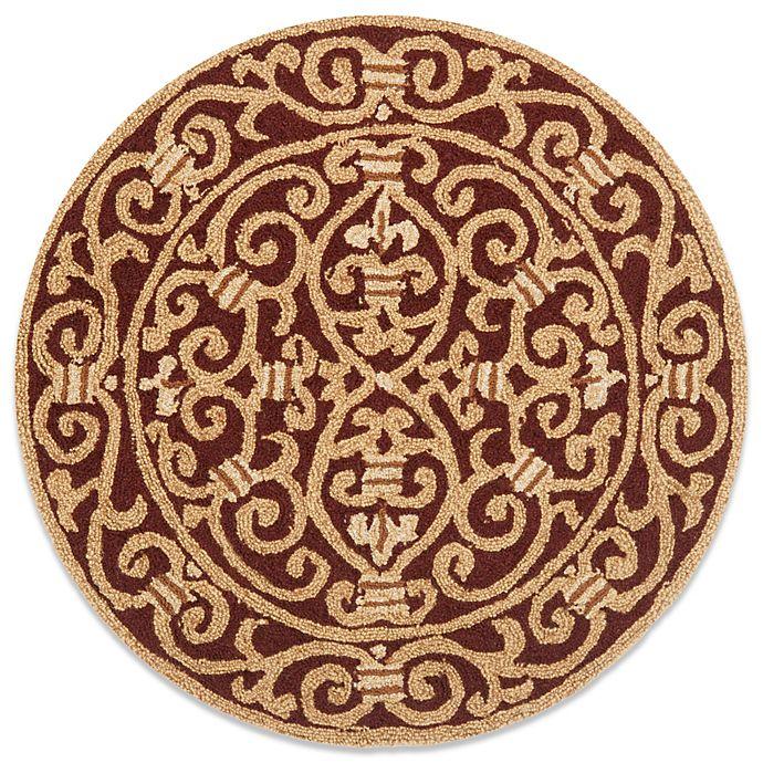 Alternate image 1 for Safavieh Chelsea Wool 4-Foot Round Rug in Burgundy