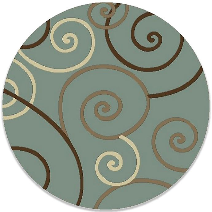 Alternate image 1 for Concord Global Trading Scroll 7-Foot 10-Inch Round Rug in Blue