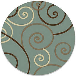 Concord Global Trading Scroll 7-Foot 10-Inch Round Rug in Blue