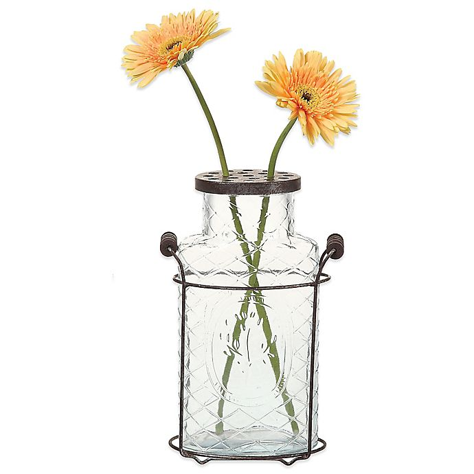 Alternate image 1 for 10.5-Inch Metal and Glass Vase