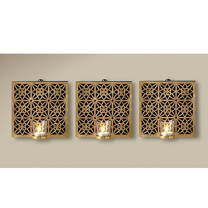 Wall Votive Sconces: Amelia Square Wall Sconce With Glass Votive In Gold (Set