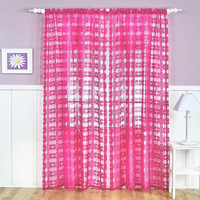 Alternate image 1 for Flower Power Sheer Rod Pocket Window Curtain Panel
