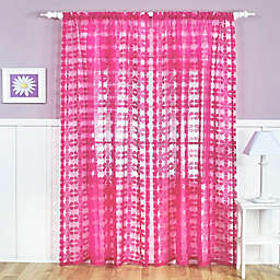 Flower Power Sheer Rod Pocket Window Curtain Panel