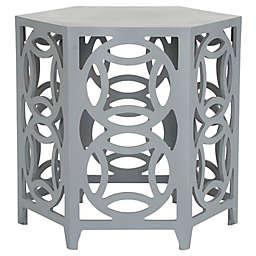 Safavieh Natanya Wood Side Table in Pearl Blue Grey