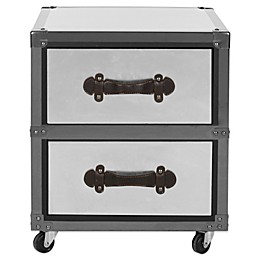 Safavieh Gage 2-Drawer Rolling Chest in Black/Silver