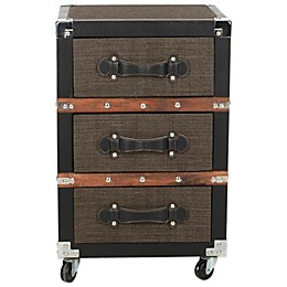 Safavieh Lewis 3-Drawer Rolling Chest in Black/Brown/Silver